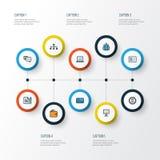 Biznesowe Kolorowe kontur ikony Ustawiać Kolekcja administrator Zdjęcia Stock