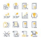 Biznesowe Kontraktacyjnej zgody ikony ilustracji