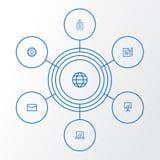Biznesowe kontur ikony ustawiać Kolekcja zgoda, statystyki, Whiteboard I Inni elementy, Także Zawiera symbole Zdjęcia Royalty Free