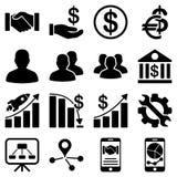 Biznesowe mapy i bank ikony Zdjęcia Stock