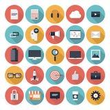 Biznesowe płaskie ikony ustawiać Zdjęcia Royalty Free