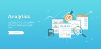 Biznesowe pieniężnych dane analityka Analiza, statystyki, sprawozdanie z rewizji ksiąg Dokumenty z grafika, mapy ilustracja wektor