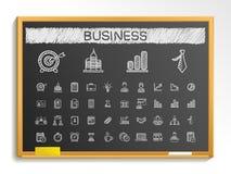 Biznesowe ręka rysunku linii ikony Wektorowy doodle piktograma set, kredowa nakreślenie znaka ilustracja na blackboard ilustracja wektor