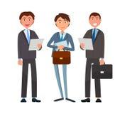 Biznesowe sprawy biznesmeni Trzyma dokumenty ilustracji