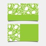 Biznesowe zielone karty z kwiecistym wzorem również zwrócić corel ilustracji wektora Obrazy Stock