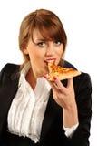biznesowego łasowania szczęśliwi pizzy kobiety potomstwa Obraz Stock