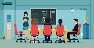 biznesowego biznesmena cmputer biurka laptopu spotkania ja target1953_0_ target1954_0_ używać kobiety ilustracja wektor