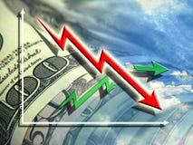 biznesowego kalkulatora pojęcia kryzysu diagrama ekonomiczny pióro Zdjęcia Stock