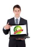 biznesowego komputeru laptopu mężczyzna target2127_0_ Obrazy Stock