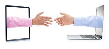 Biznesowego komputeru Marketingowy uścisk dłoni fotografia royalty free