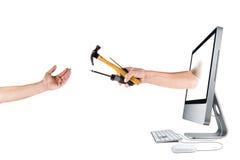 biznesowego komputeru pomoc internety zdjęcie stock