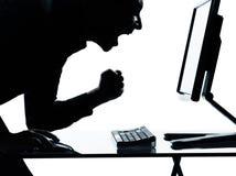 biznesowego komputeru szczęśliwa mężczyzna jeden sylwetka Zdjęcie Stock