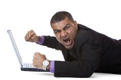biznesowego komputeru trzaska mężczyzna stresujący się Obraz Stock