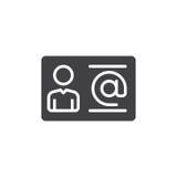 Biznesowego kontaktu ikony wektor, wypełniający mieszkanie znak, stały piktogram odizolowywający na bielu Symbol, logo ilustracja Obrazy Royalty Free