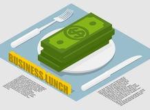 Biznesowego lunchu infographics na karmowych kosztach Wydatki na karmowym busi ilustracja wektor
