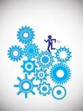 Biznesowego mężczyzna bieg na cogwheels Obraz Stock