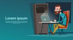 Biznesowego mężczyzna biurka pracy Siedzący laptop royalty ilustracja
