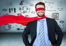 Biznesowego mężczyzna bohater z rękami na biodrach przeciw błękit ścianie z biznesu racą i doodles royalty ilustracja