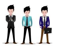 Biznesowego mężczyzna charaktery biznesowy pojęcie przyrost, wysiłek i iść beyond, chłodno tło wektoru ilustracja Kreskówka styl ilustracji