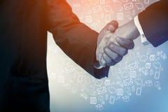 Biznesowego mężczyzna chwiania ręki i biznesowej grafiki ikony Zdjęcie Stock