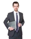 Biznesowego mężczyzna chwyt z notebookiem Fotografia Stock