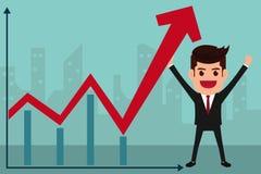 Biznesowego mężczyzna chwyty w ręce podnosić wykres Fotografia Stock