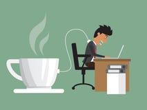 Biznesowego mężczyzna ciężki działanie z potrzebą władza ładuje od kawy ilustracja wektor
