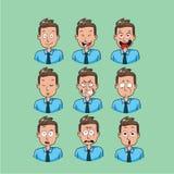 Biznesowego mężczyzna emoji, urzędnika uśmiechu ikony ustawiać Zdjęcia Royalty Free