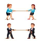 Biznesowego mężczyzna i kobiety rywalizaci metafora ilustracja wektor