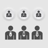 Biznesowego mężczyzna ikona ustawiająca w czarnej koloru guzika ramie. ilustracja wektor