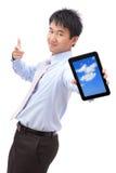 biznesowego mężczyzna komputeru osobisty przedstawienie uśmiechu pastylka zdjęcia royalty free