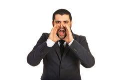 Biznesowego mężczyzna krzyczeć fotografia royalty free