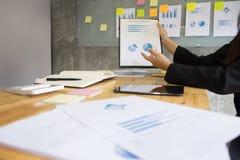 Biznesowego mężczyzna mówca daje rozmowa finanse zysku wykresu presenta Obraz Stock