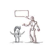 Biznesowego mężczyzna mówienie Z Nowożytnym robotem, biznesmena spotkania dyskusja ilustracji