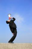 biznesowego mężczyzna megafonu używać Zdjęcie Royalty Free
