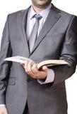 Biznesowego mężczyzna mienia książka fotografia stock