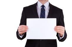 Biznesowego mężczyzna mienia pusta nutowa karta Fotografia Royalty Free