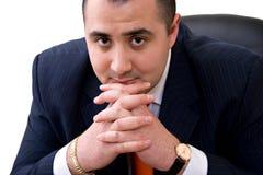 Biznesowego mężczyzna obsiadanie na krześle zdjęcia stock