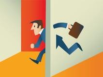 Biznesowego mężczyzna odprowadzenie przez ścian ilustracji