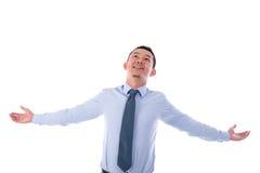 Biznesowego mężczyzna otwarte ręki szeroko rozpościerać Zdjęcia Royalty Free