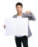 Biznesowego mężczyzna palca punkt puste miejsce deska Zdjęcie Stock