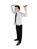 Biznesowego mężczyzna pchnięcie coś Fotografia Royalty Free