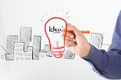 Biznesowego mężczyzna pomysłu rysunkowy majątkowy pojęcie Zdjęcia Stock