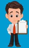 Biznesowego mężczyzna postać z kreskówki Śliczny młody biznesmen w biura mienia pustego miejsca odzieżowym schowku ilustracji