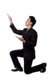 Biznesowego mężczyzna postawy wskazywać odizolowywam Zdjęcie Stock
