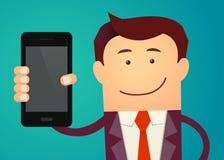 Biznesowego mężczyzna przedstawienia mądrze telefon również zwrócić corel ilustracji wektora Zdjęcia Stock