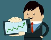 Biznesowego mężczyzna przedstawienia Mądrze telefon - Up Obraz Royalty Free