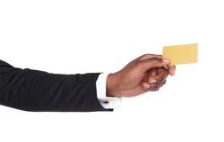 Biznesowego mężczyzna ręki mienia klingerytu karta Obrazy Royalty Free