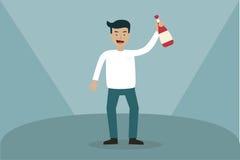 Biznesowego mężczyzna rozochocona odświętność trzyma szampana royalty ilustracja