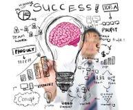 Biznesowego mężczyzna rysunkowy biznesowy pomysł i pojęcie Fotografia Royalty Free